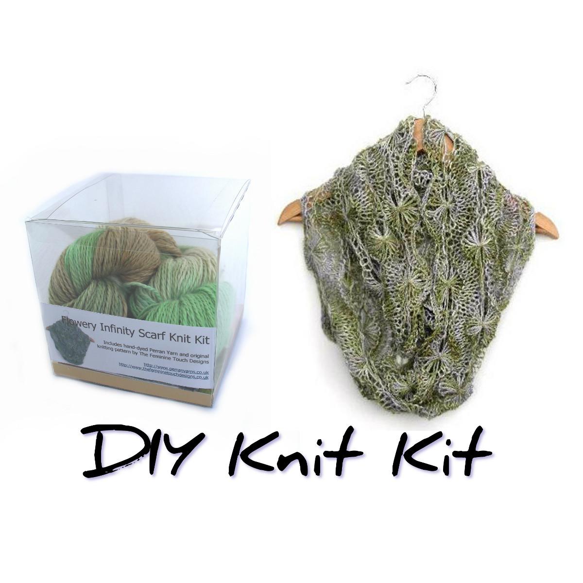 Flowery Scarf knit kit using DK baby alpaca, linen & silk blend yarn