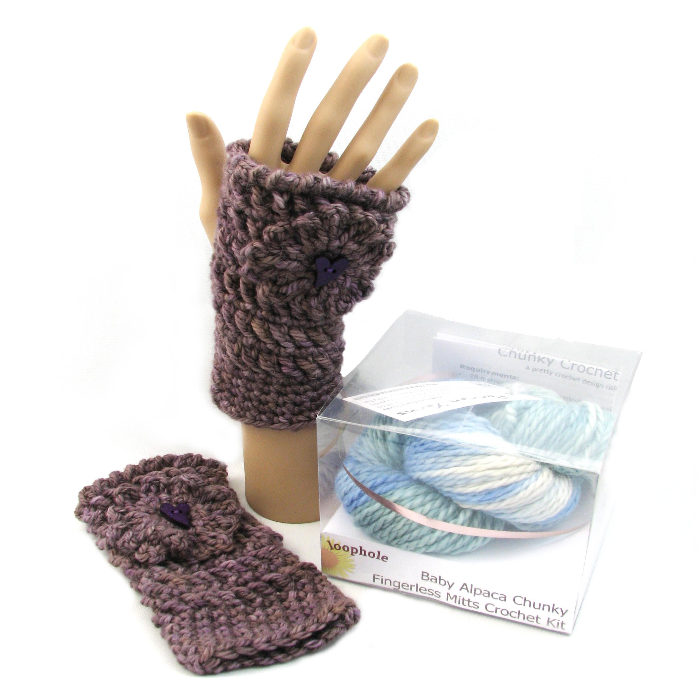Chunky Fingerless Mitts crochet kit using baby alpaca chunky yarn