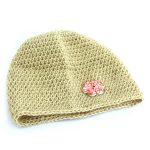 Crochet hat made from 1 skein of DK Devon Alpaca in shade Cornish Nettle Gold