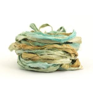 Recycled Sari Silk Ribbon in shade Sandy Toes