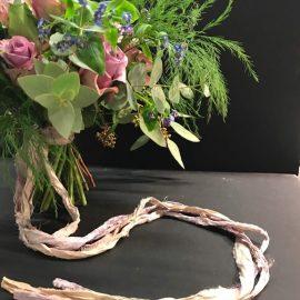 Using sari silk ribbons in floral art