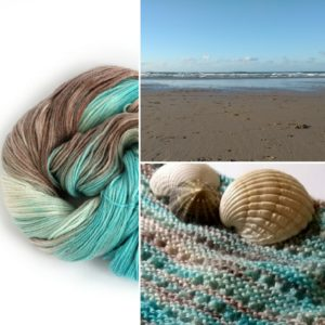 Ripples in the Sand - on Perranporth beach, dyed in the skein, and knitted as our Lean-To Shawl free pattern