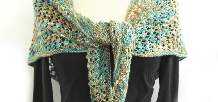 Lacy Heart Shawl knitted in Perran Yarns merino tencel 4ply in shade Sandy Toes