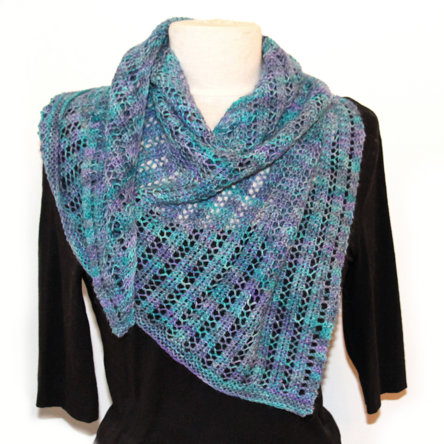 Triangle Trellis Shawl in Suri Sport shade Moonscape