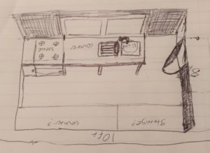 Initial sketch of dye studio layout