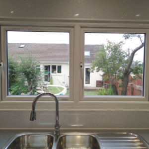 Dye studio window, double sink and tap