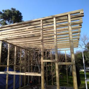 Wooden frame consruction of the dye studio